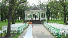 This image shows a wedding at Island Park.