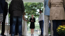 This image shows a wedding at the Island Park Gazebo.